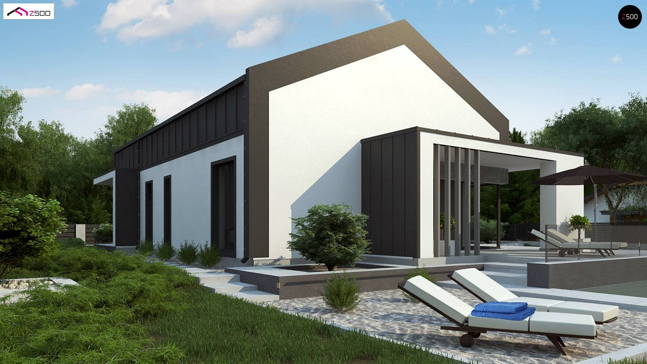 Современный одноэтажный дом с двускатной крышей и большой террасой 3