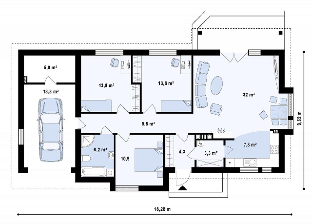 Вариант проекта Z93 с гаражом на одну машину план помещений 1