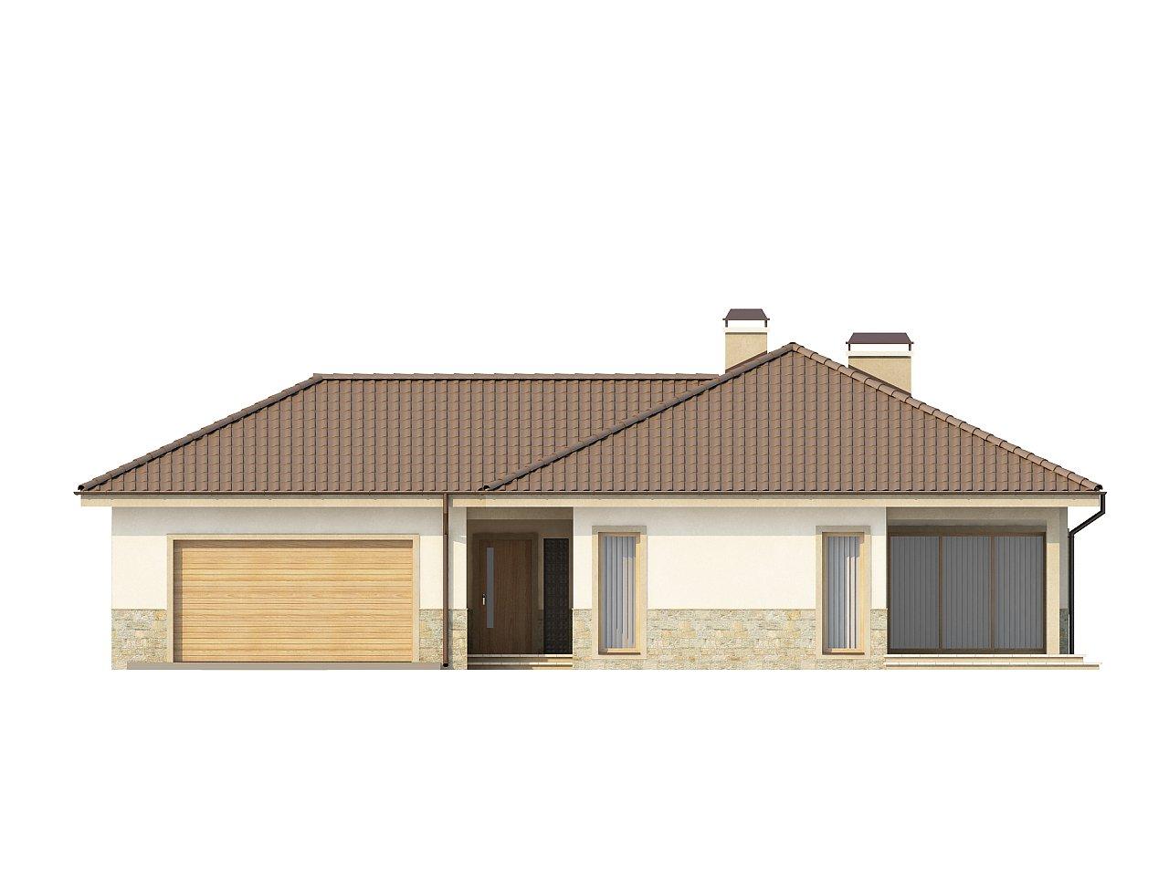 Одноэтажный дом в скандинавском стиле с дополнительной фронтальной террасой и гаражом на две машины. 3