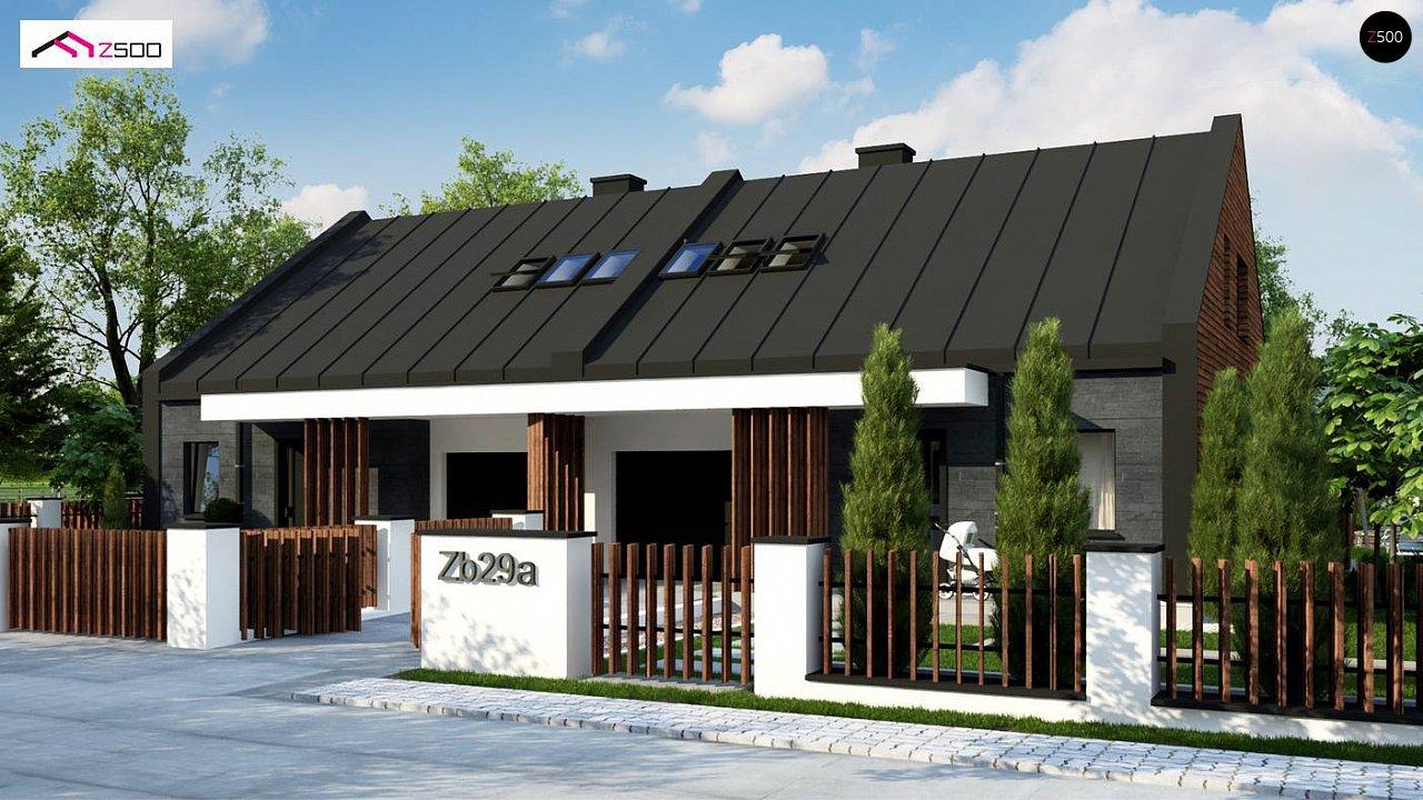 Современный двухсемейный дом с двускатной крышей 2