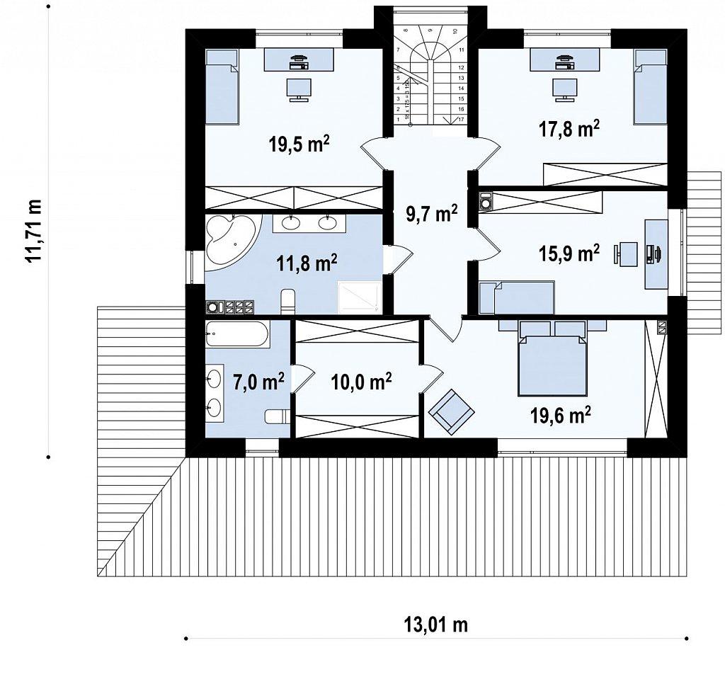 Проект просторного современного коттеджа с 5 спальнями. план помещений 2