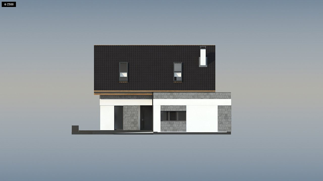Мансардный дом с гаражом, расположенным с фронтальной стороны фасада - фото 7