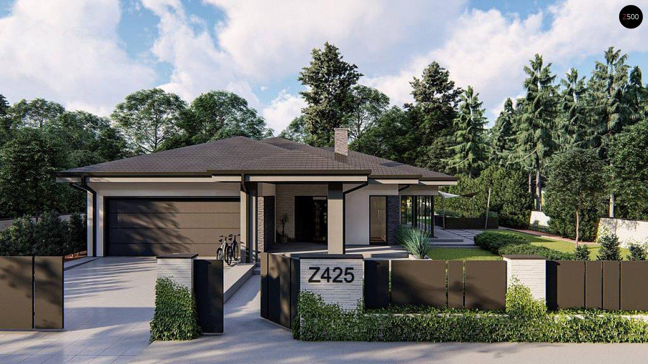 Cовременный одноэтажный дом с многоскатной крышей и гаражом на две машины. 1