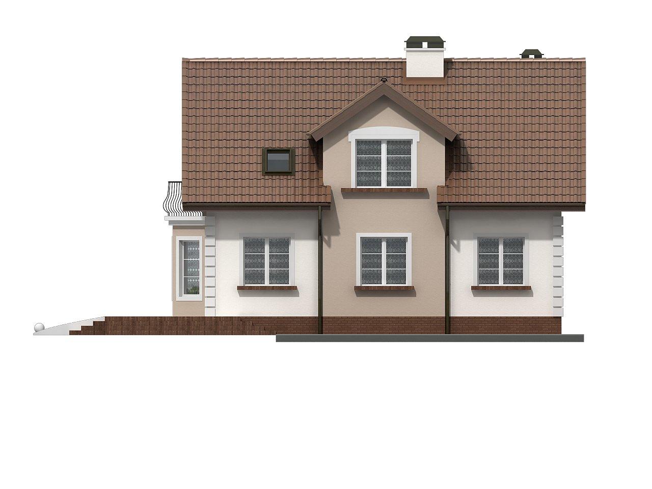 Элегантный дом с мансардой, эркером и балконом над ним. 4