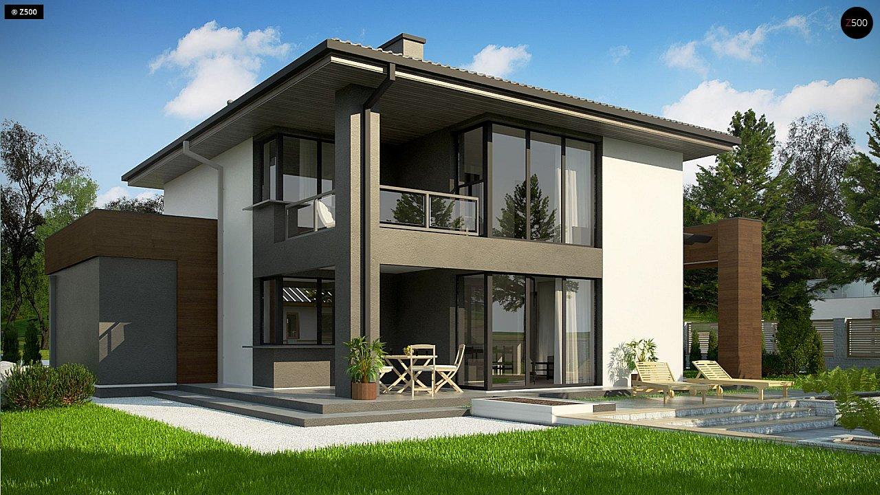 Уменьшенная версия проекта z156 с гаражем и стильным фасадом 4