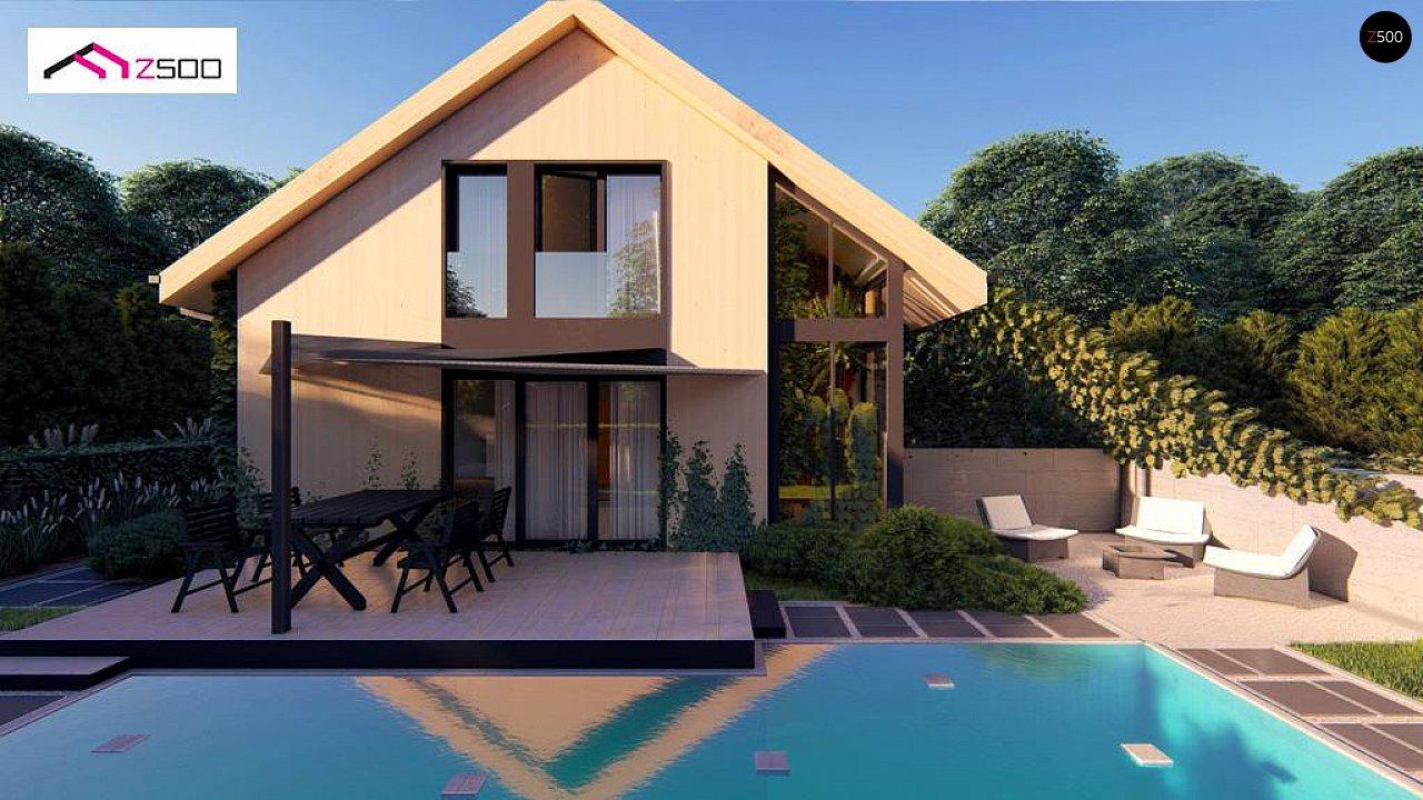 Проект просторного мансардного дома с панорамным остеклением. - фото 1
