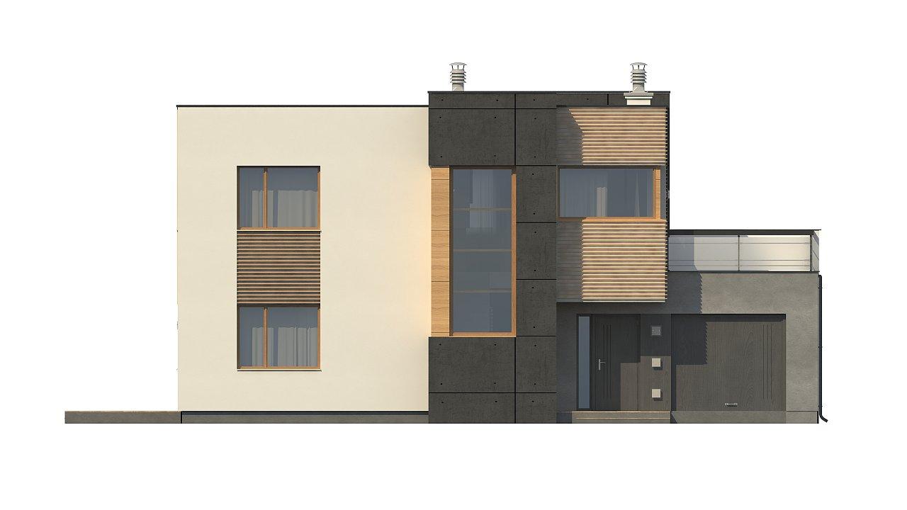 Двухэтажный дом в модернистского дизайна с гаражом и террасой на верхнем этаже. 10