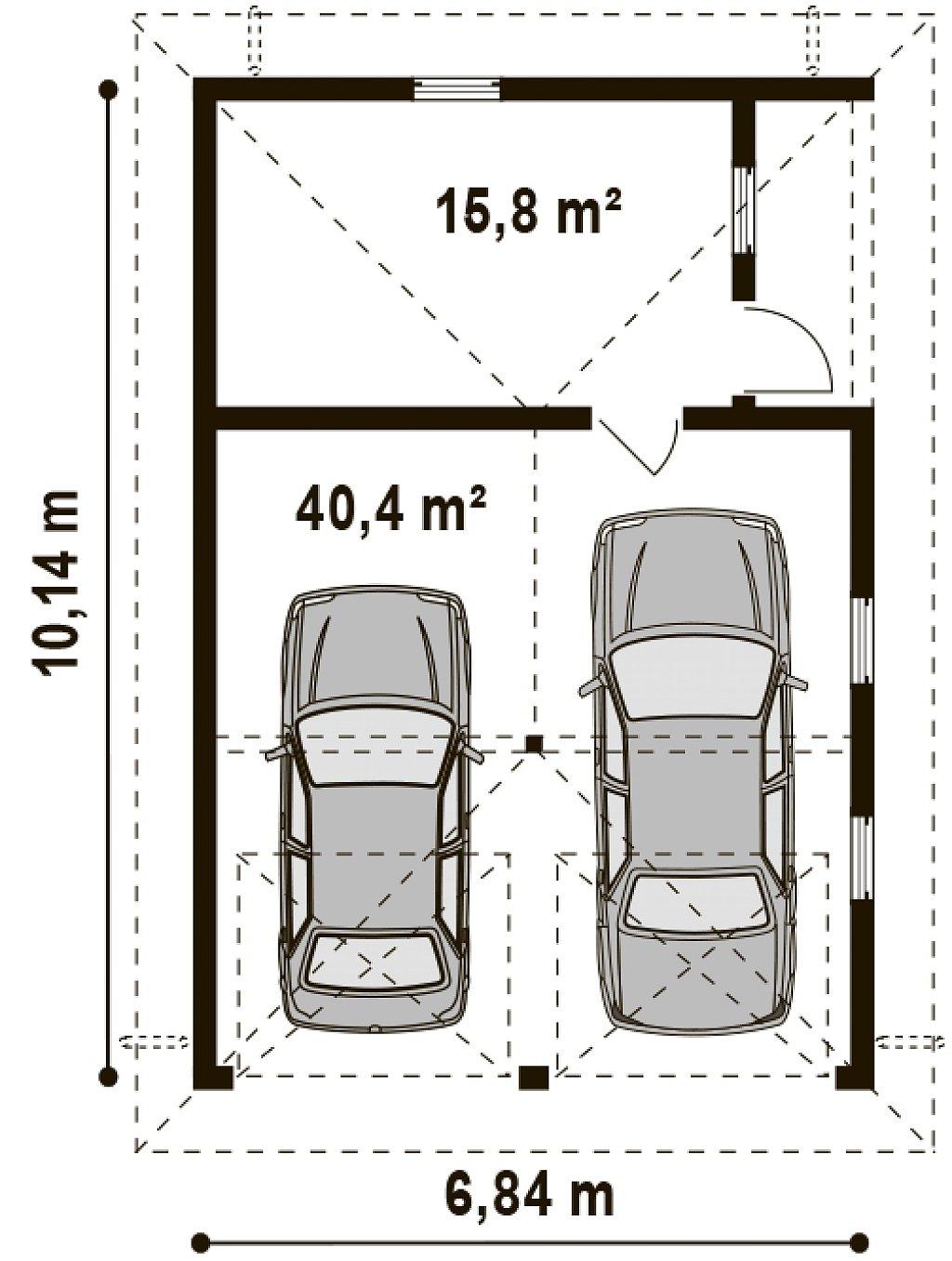Проект гаража для двух автомобилей для дома в классическом стиле план помещений 1