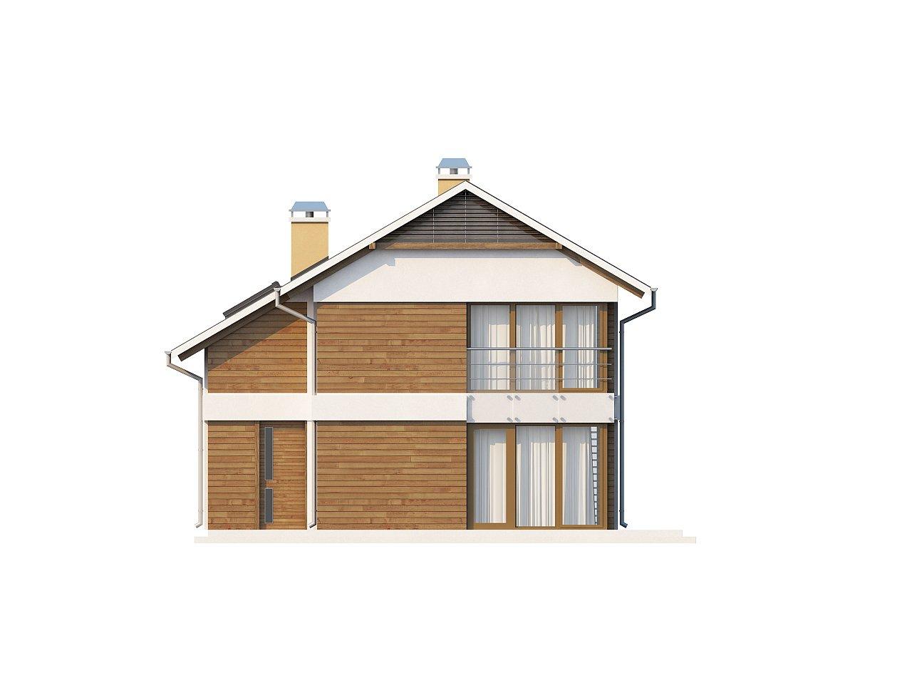 Компактный двухэтажный дом с большими окнами, подходящий для узкого участка. 3