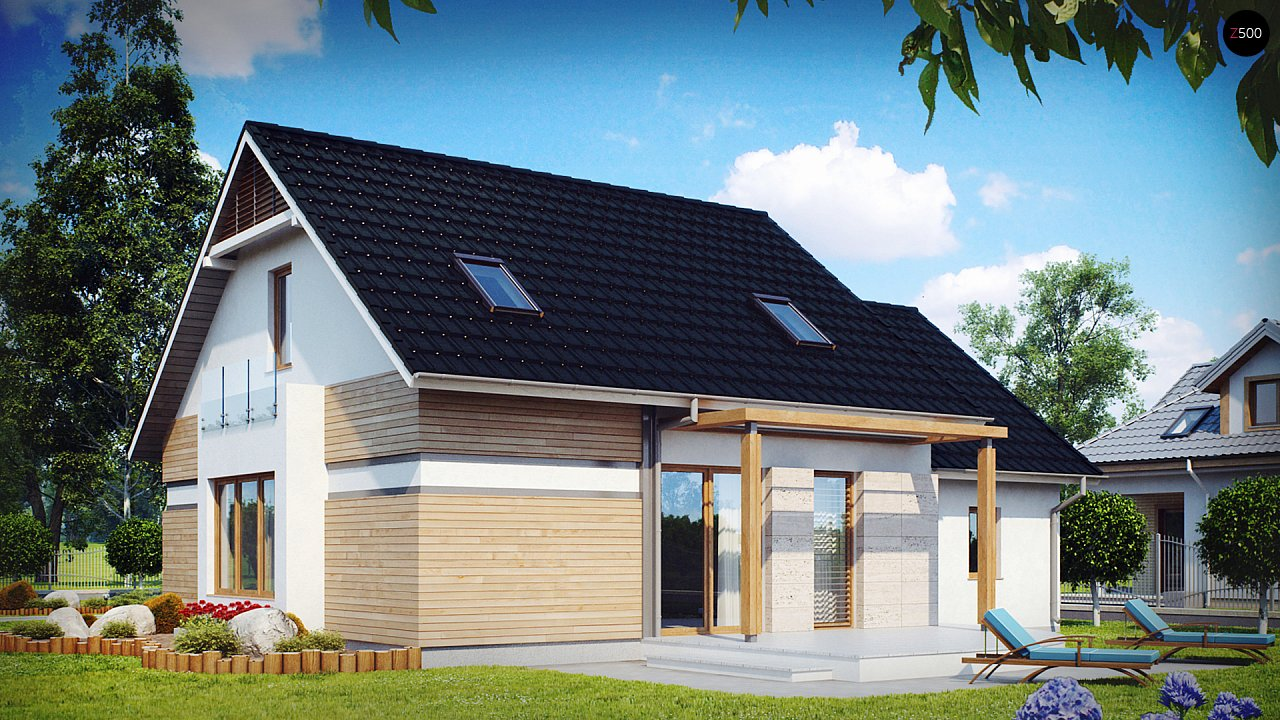Проект практичного дома с эркером и гаражом на одну машину. 2