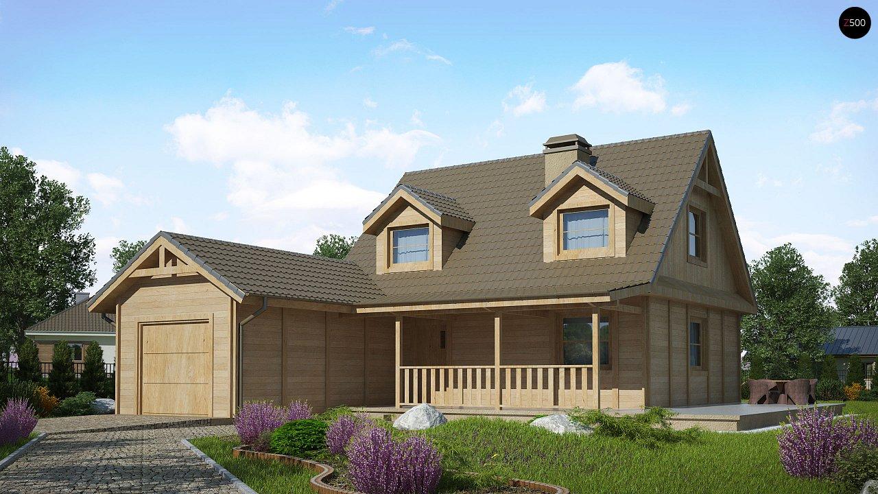 Вариант проекта Z39 c деревянными фасадами и гаражом расположенным с левой стороны. 1