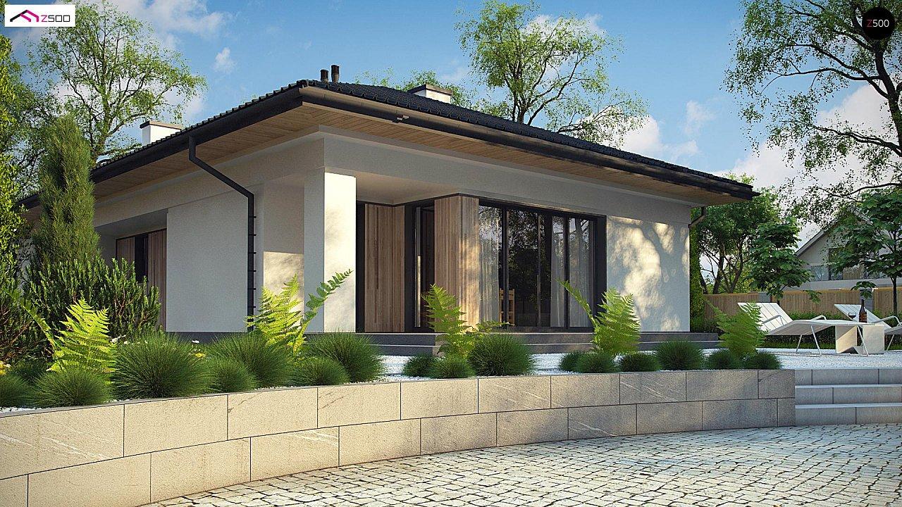 Дом для узкого участка с 4-х скатной крышей - фото 4