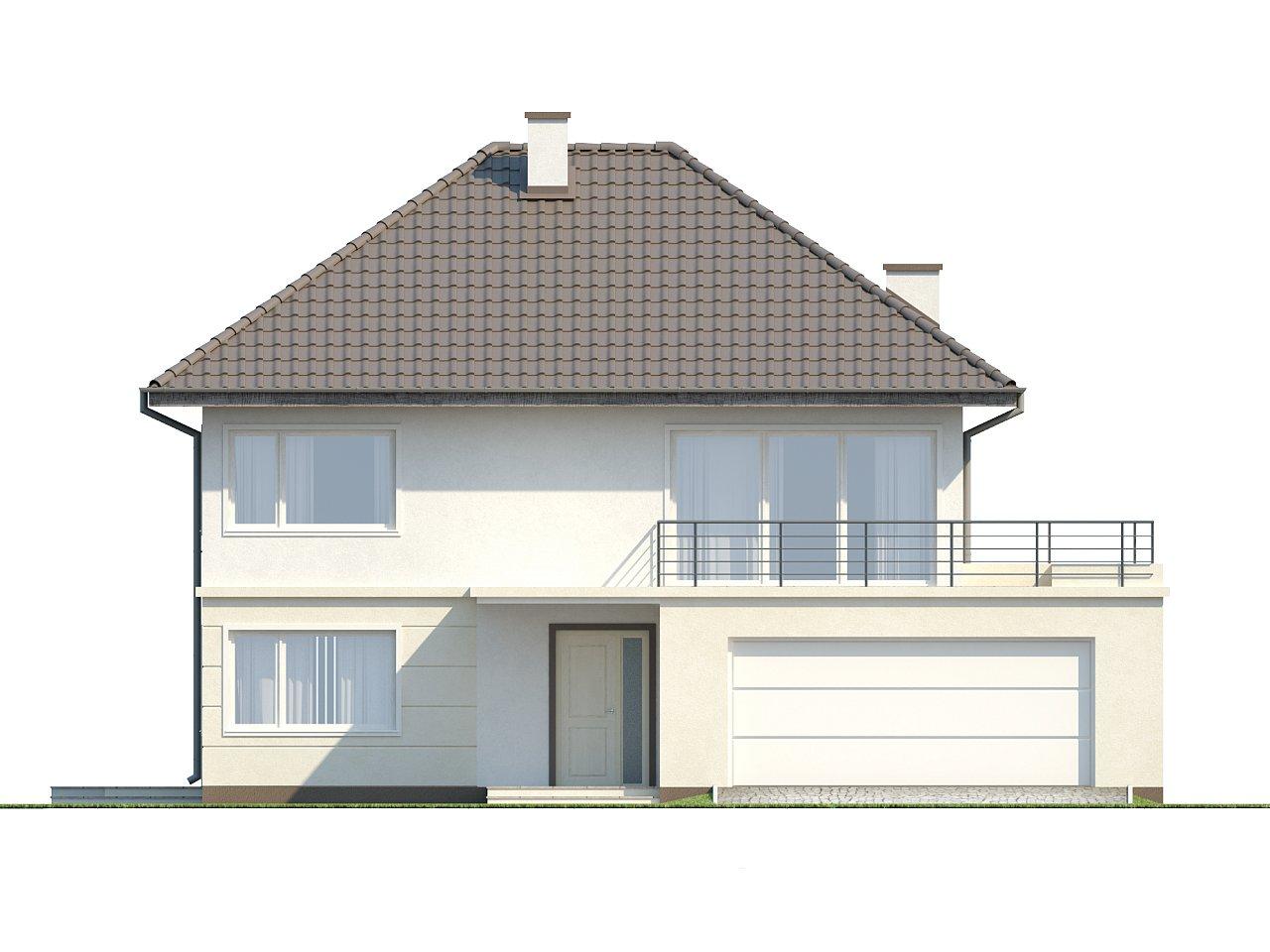 Просторный двухэтажный дом простой формы с террасой над гаражом. - фото 10