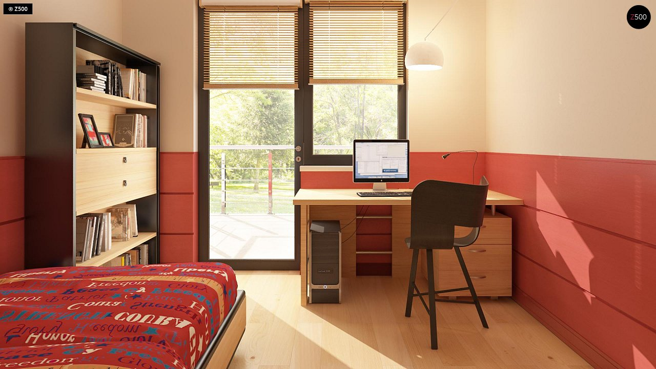 Версия двухэтажного дома Zx24 c увеличенным гаражом для двух машин 12