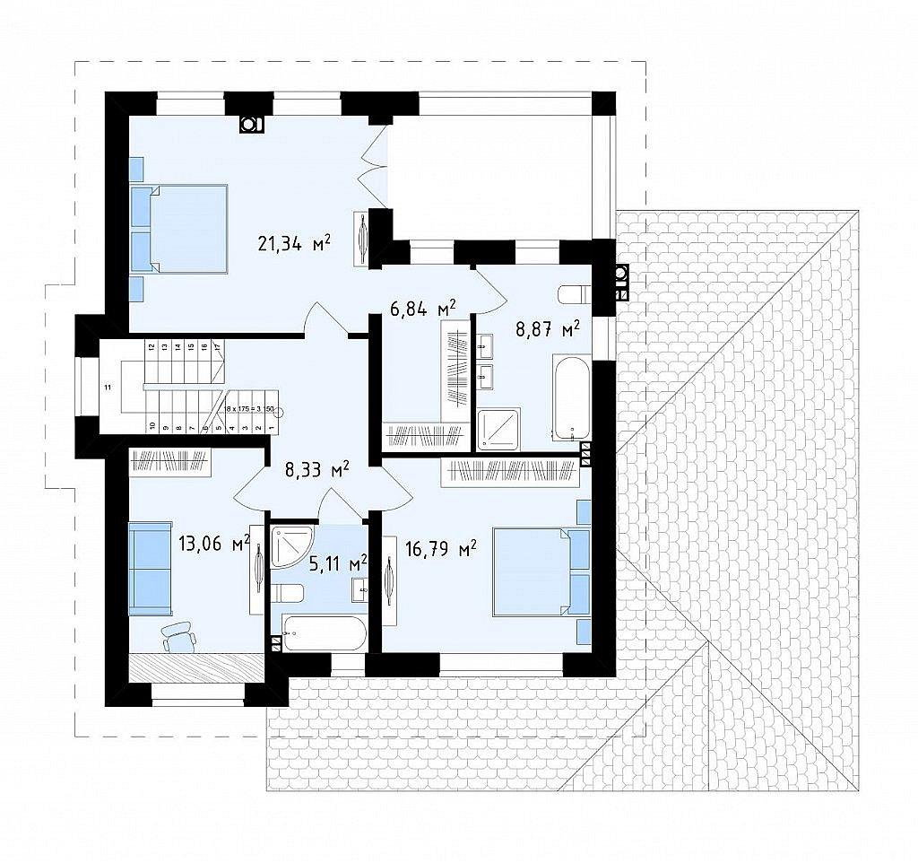 Проект двухэтажного дома, адаптированный для строительства в сейсмоопасных районах план помещений 2
