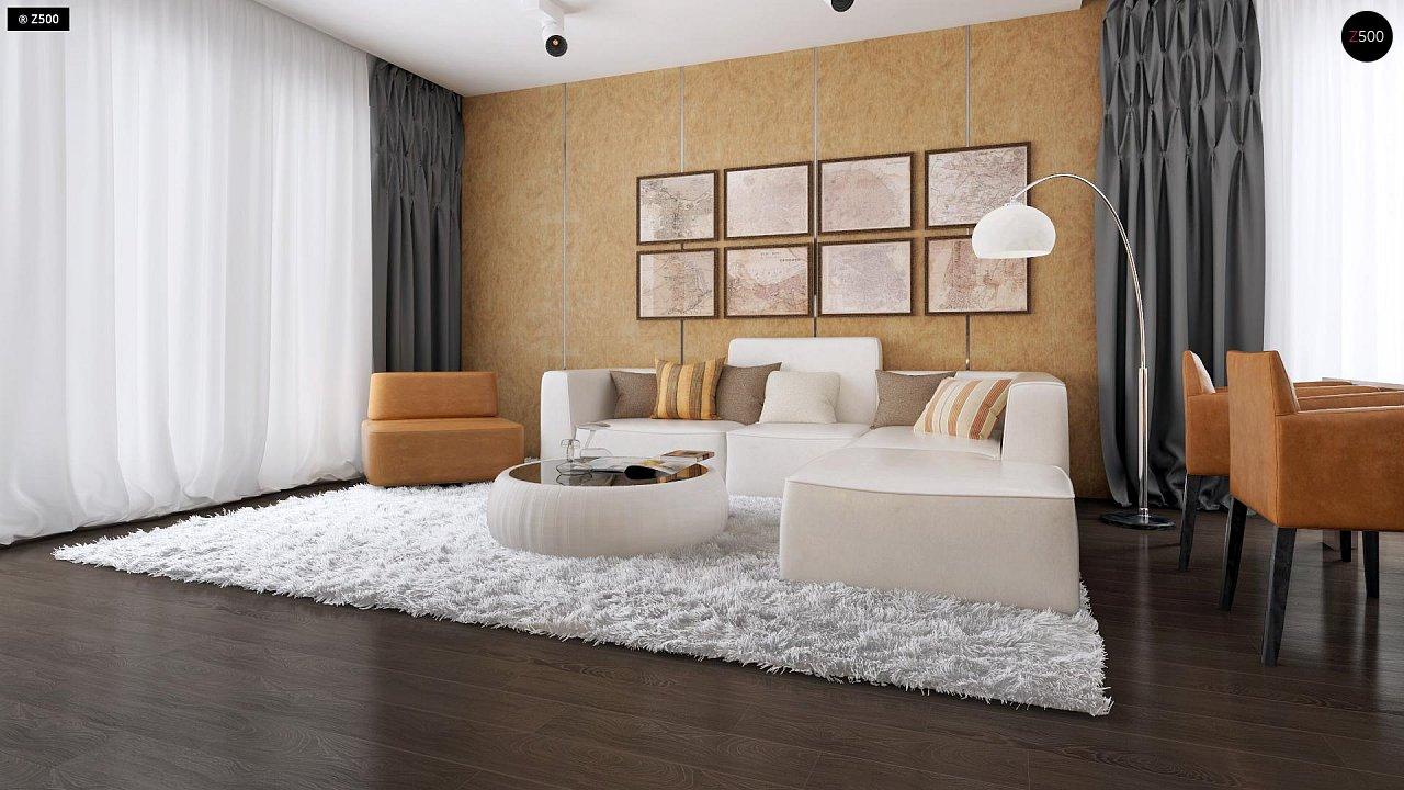 Проект удобного одноэтажного дома с гаражом для двух автомобилей и большим хозяйственным помещением. 4