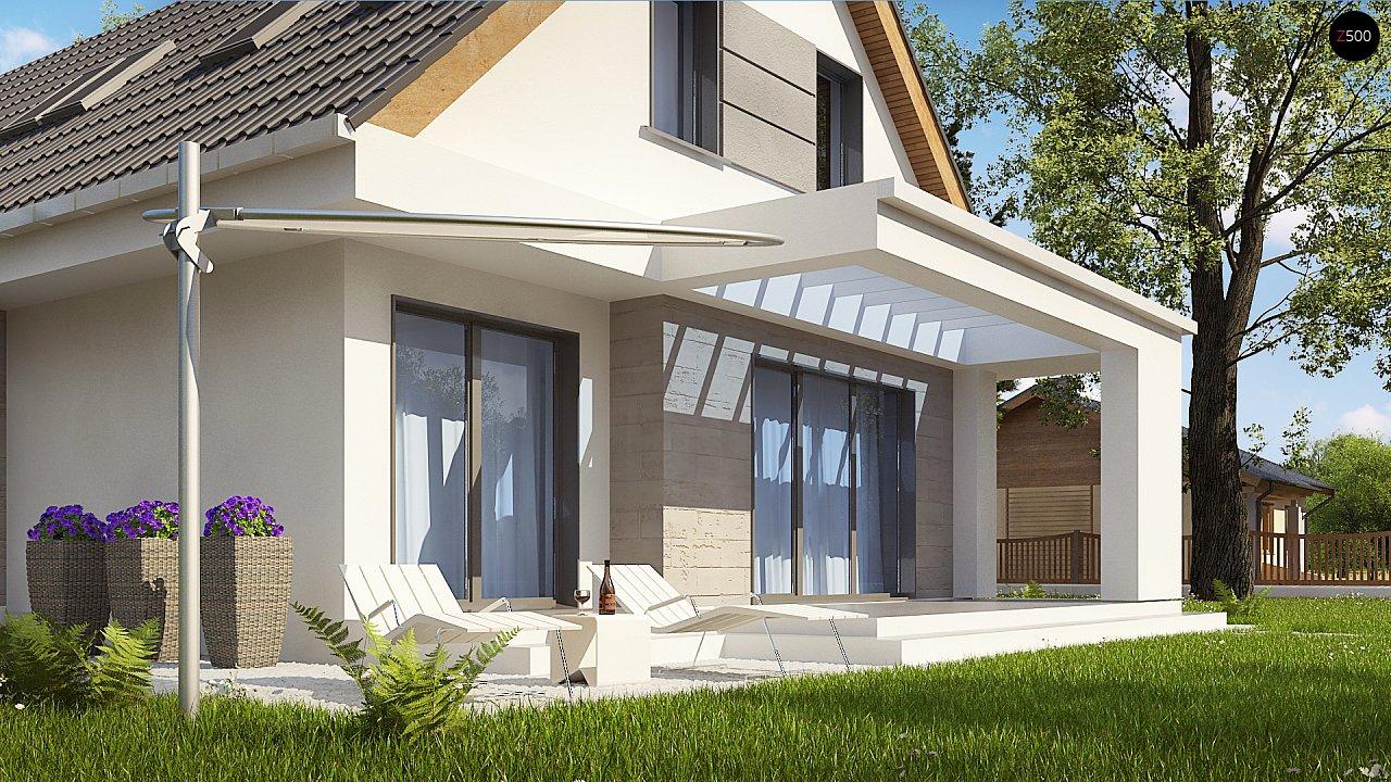 Проект классического мансардного дома с монохромным дизайном экстерьера 7