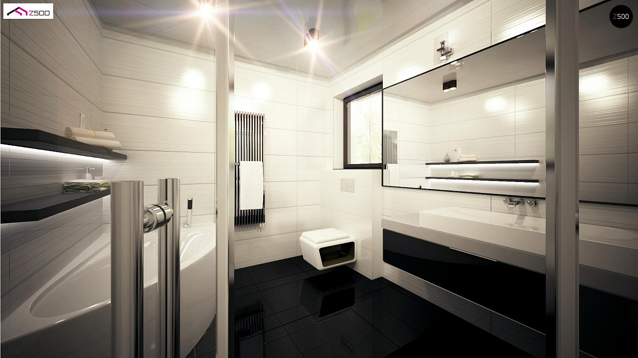 Проект комфортного одноэтажного дома с оригинальными фасадными окнами на чердаке. 14