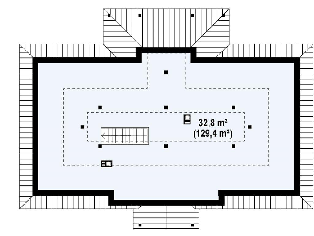 Симметричный одноэтажный дом с многоскатной кровлей. план помещений 2