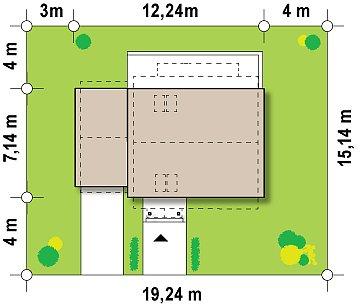 Компактный дом с гаражом для одной машины, с большими окнами в гостиной. план помещений 1