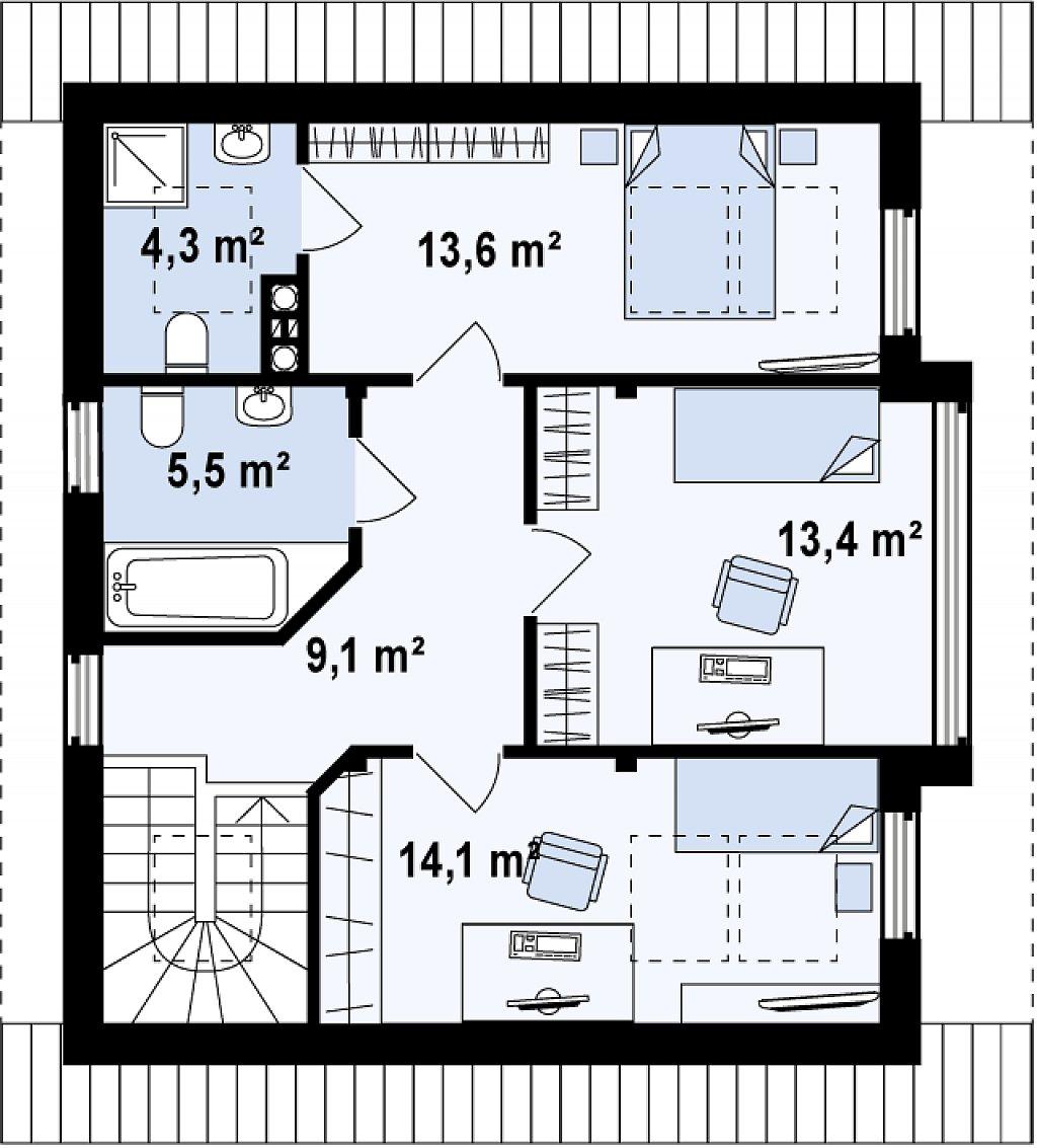 Проект двухэтажного дома с большой площадью остекления. план помещений 2