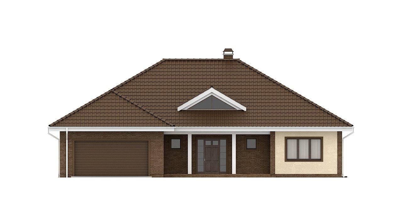 Одноэтажный дом с фронтальным гаражом для двух автомобилей. 21