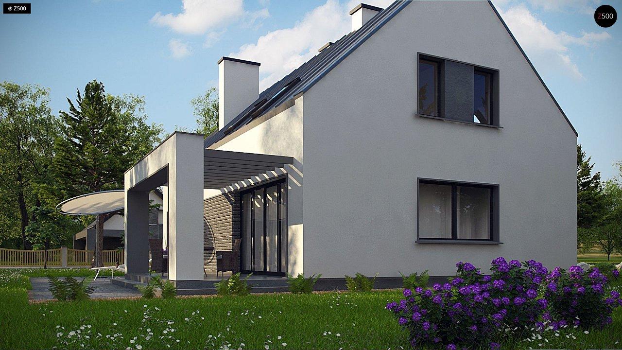 Проект мансардного с тремя спальнями и двускатной крышей 7