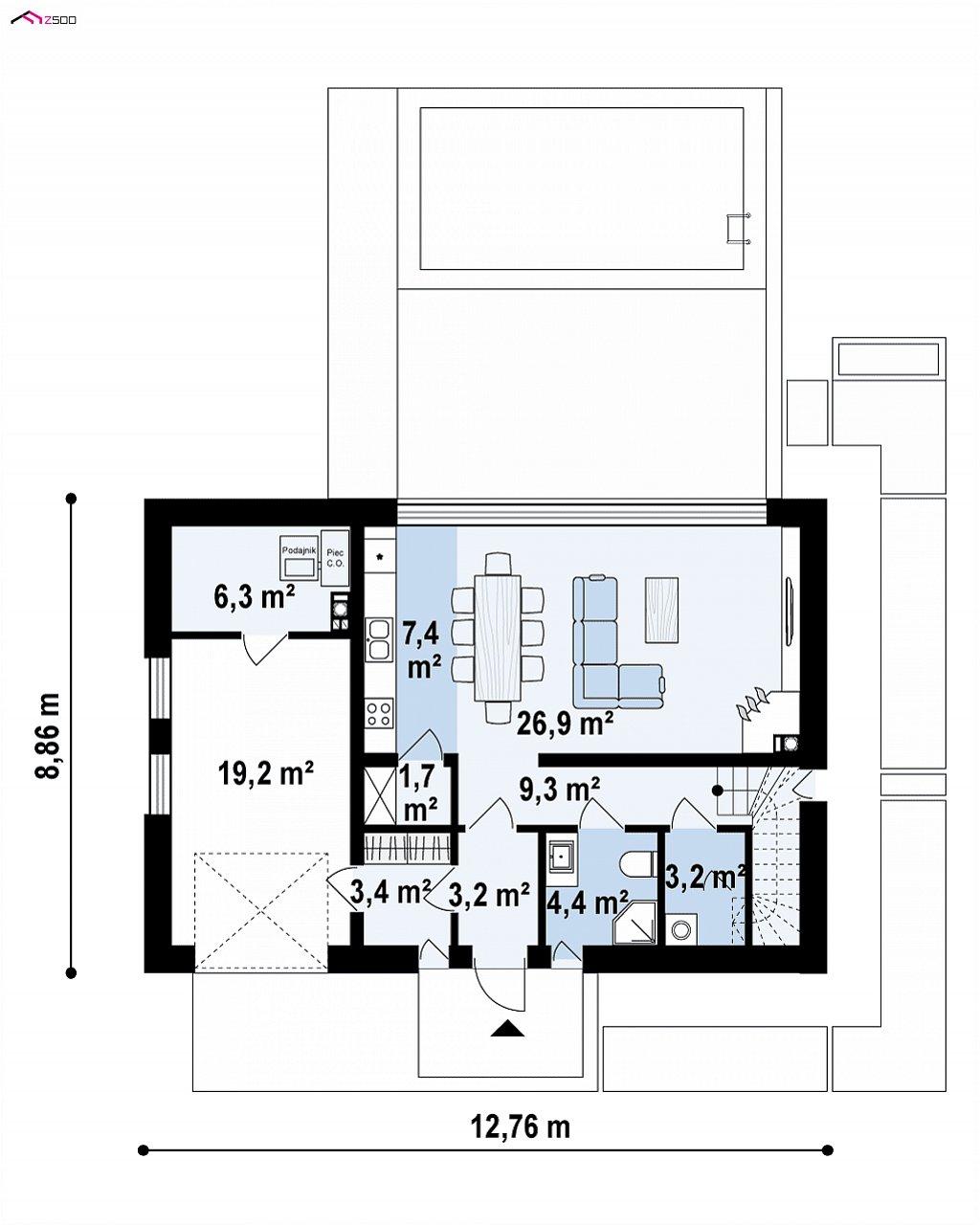 Проект современного односемейного дома с гаражом на одну машину. план помещений 1