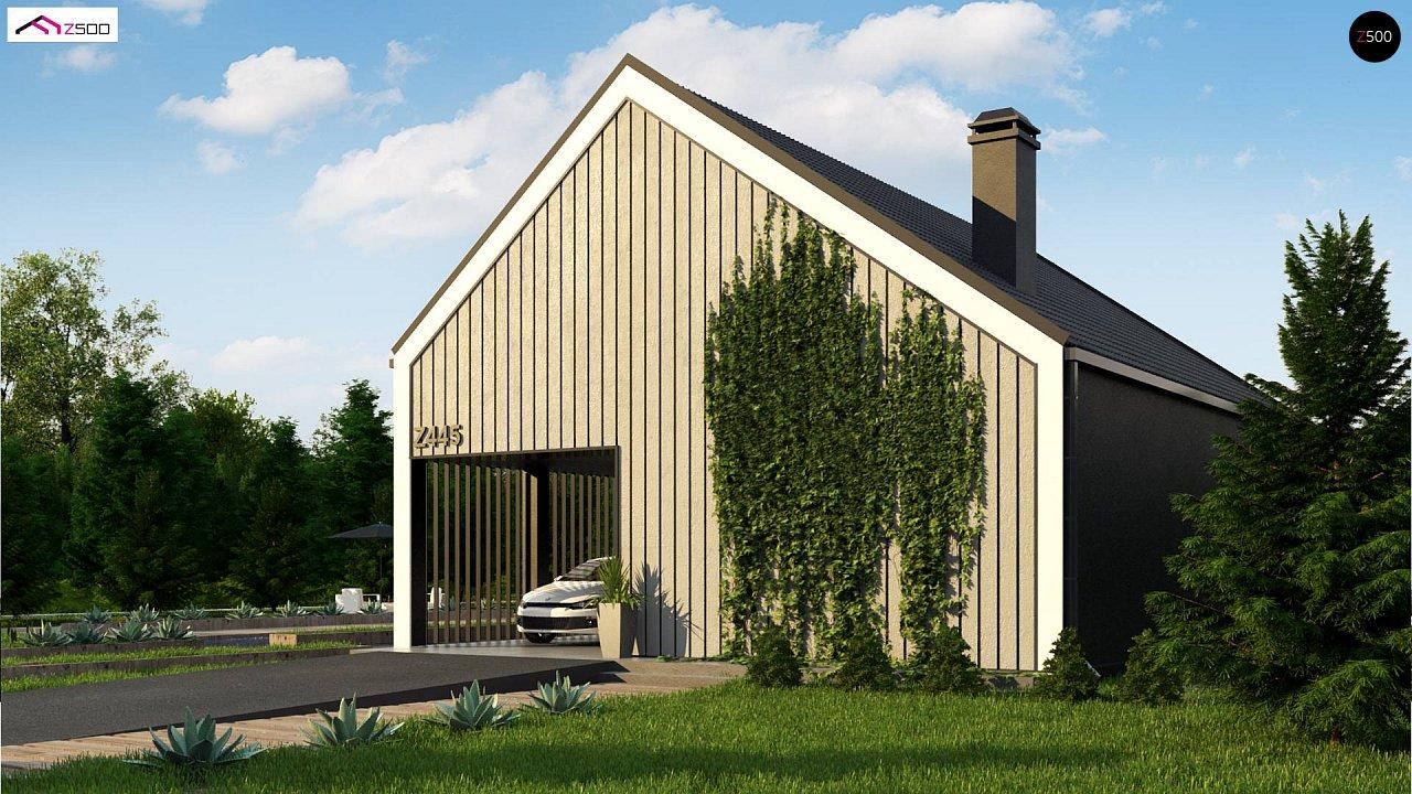 Мансардный дом простой формы с современным оригинальным экстерьером. - фото 2