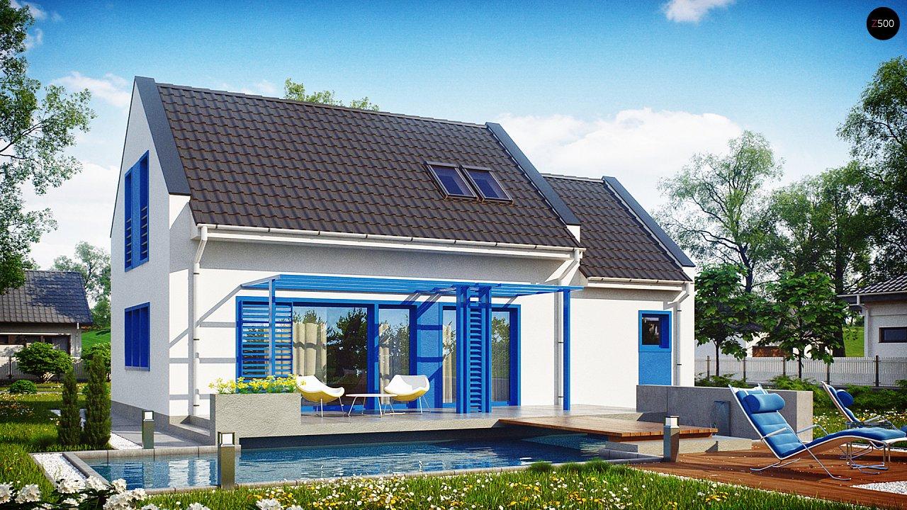 Компактный дом с гаражом для одной машины, с большими окнами в гостиной. 3