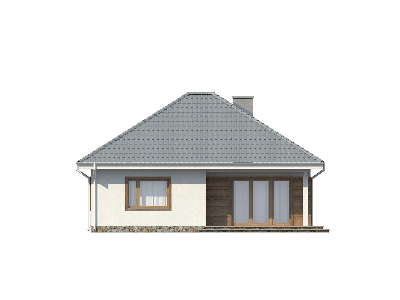 Проект одноэтажного практичного и уютного дома с крытой террасой. 23