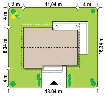 Простой и недорогой в строительстве одноэтажный дом небольшой площади. план помещений 1