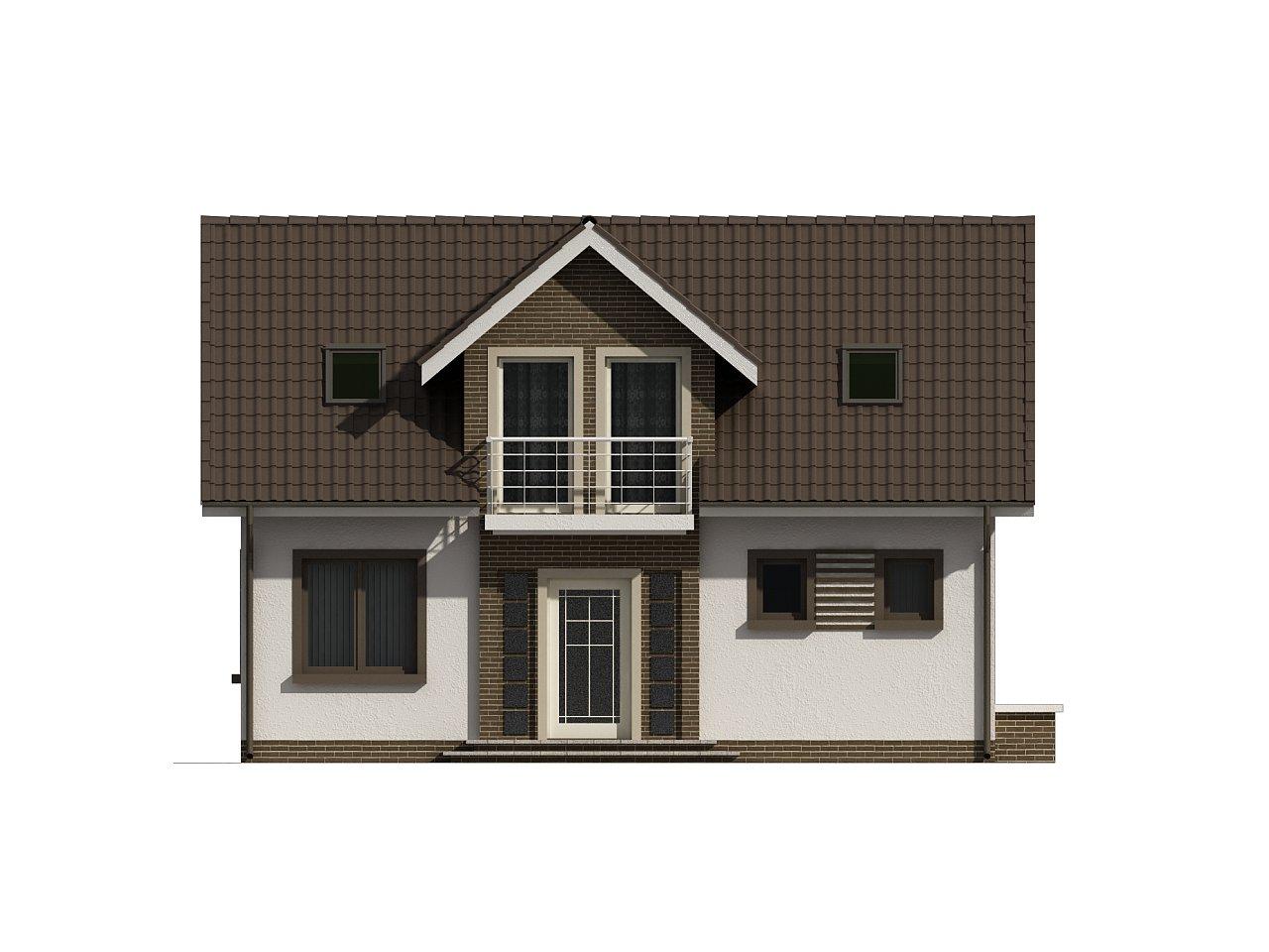 Простой в строительстве дом с балконом над входом. 7