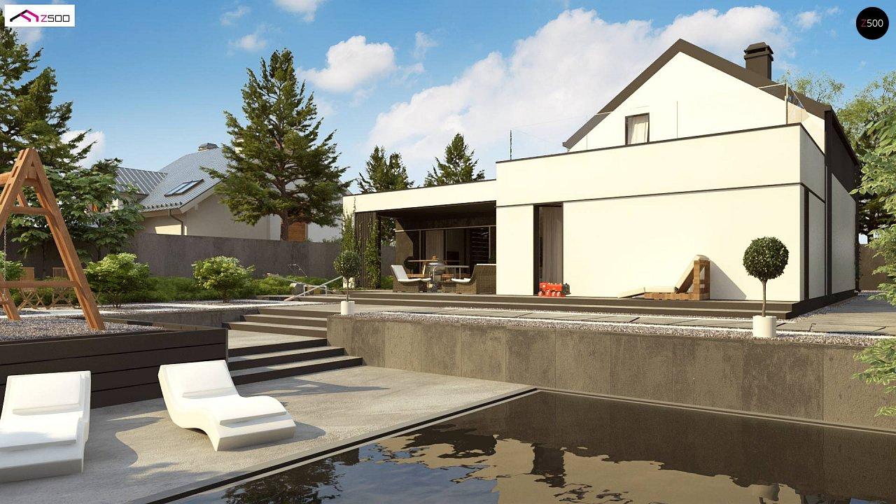 Проект дома с мансардой в европейском стиле с гаражом на одно авто. - фото 3