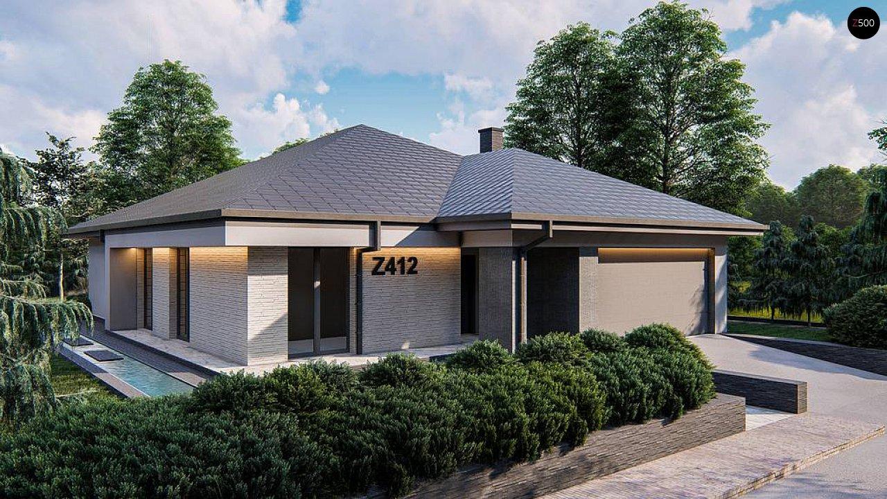 Современный одноэтажный проект дома с многоскатной крышей и гаражом на две машины - фото 3