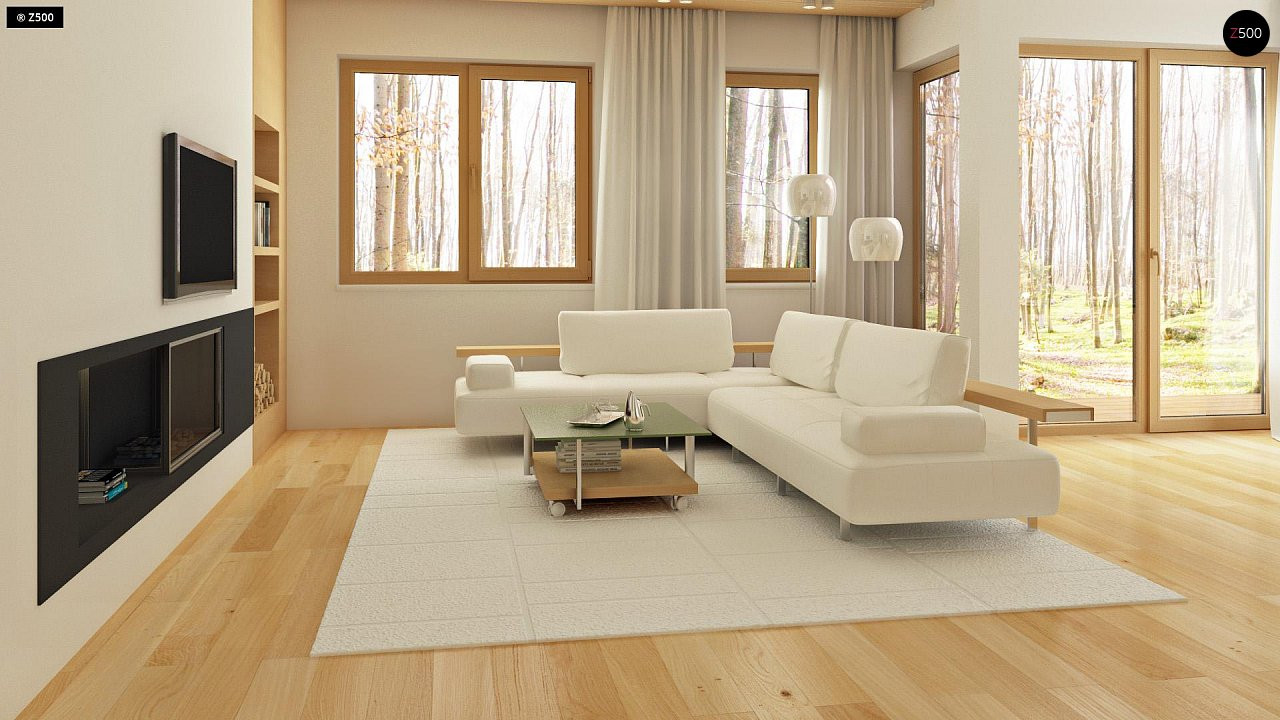 Двухэтажный дом, сочетающий традиционные формы и современный дизайн, с тремя спальнями и гаражом. 4
