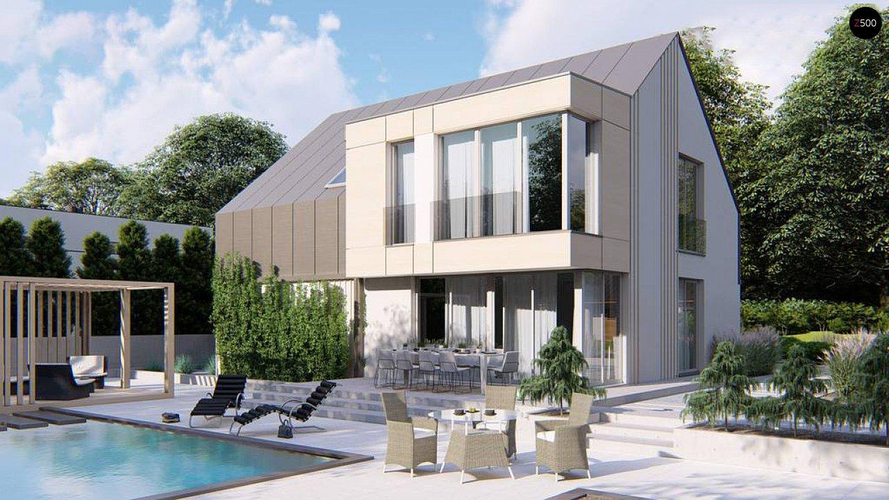 Cовременный проект дома с двускатной крышей и просторными большими мансардными окнами 6