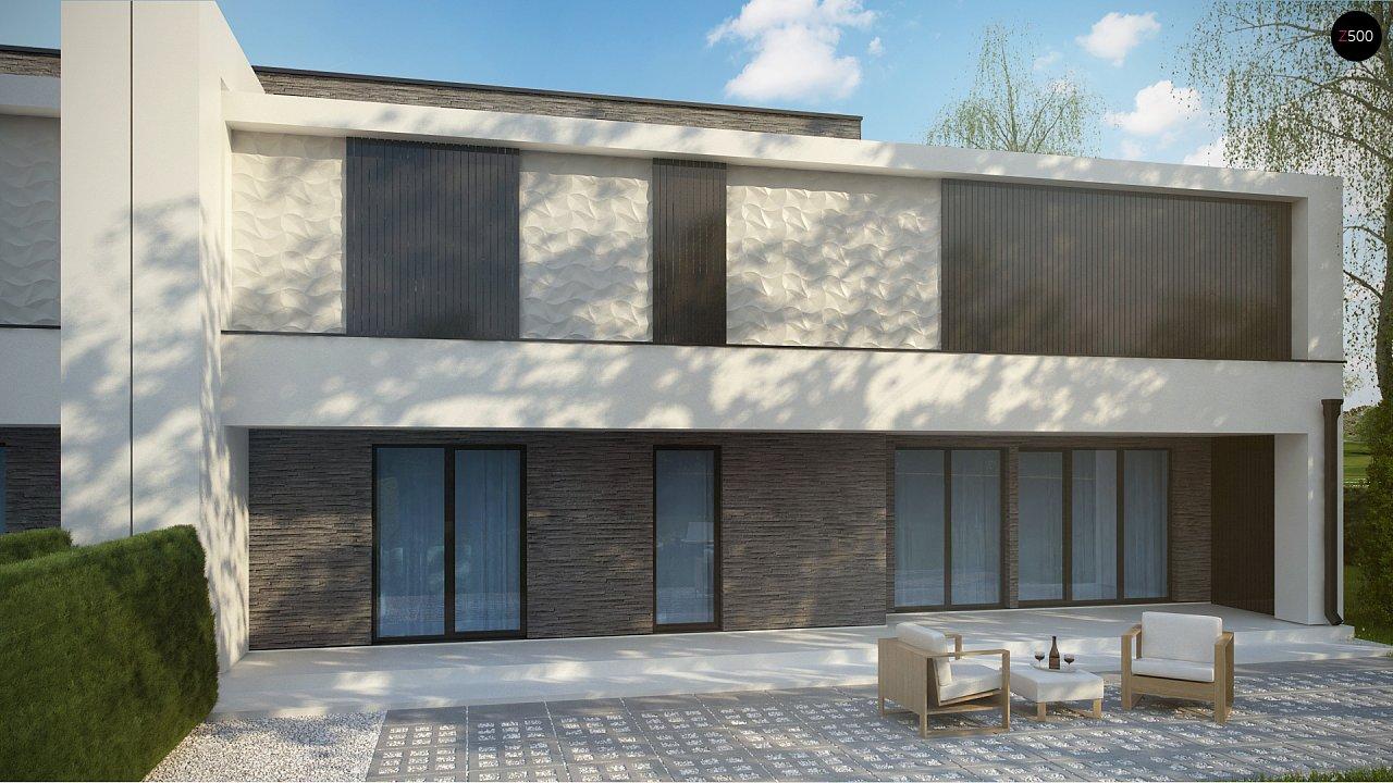 Современный проект домов-близнецов с большим гаражом и террасой на втором этаже. 4