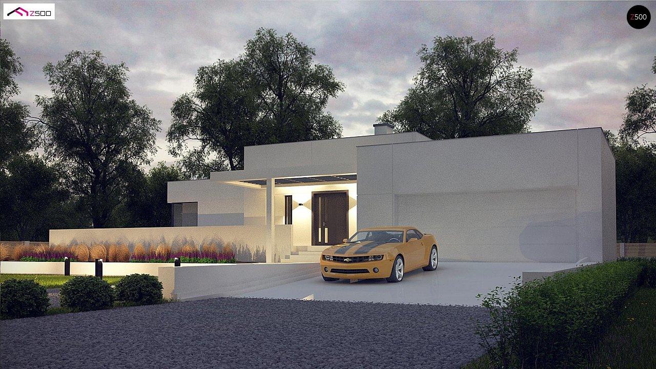 Современный проект с уникальным дизайном, оштукатуренным фасадом и гаражом 4
