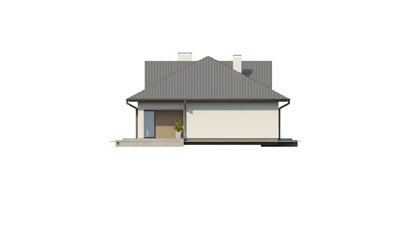 Проект комфортного одноэтажного дома с оригинальными фасадными окнами на чердаке. 17