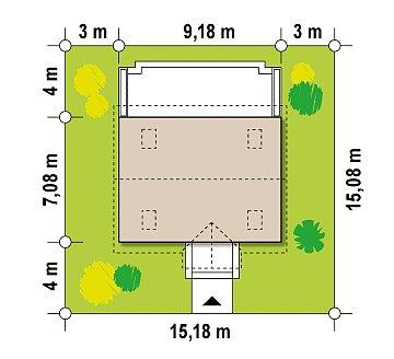Компактный традиционный дом простой формы с двускатной крышей. план помещений 1