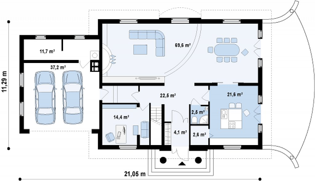 Добротный особняк изысканного дизайна с гаражом для двух авто. план помещений 1