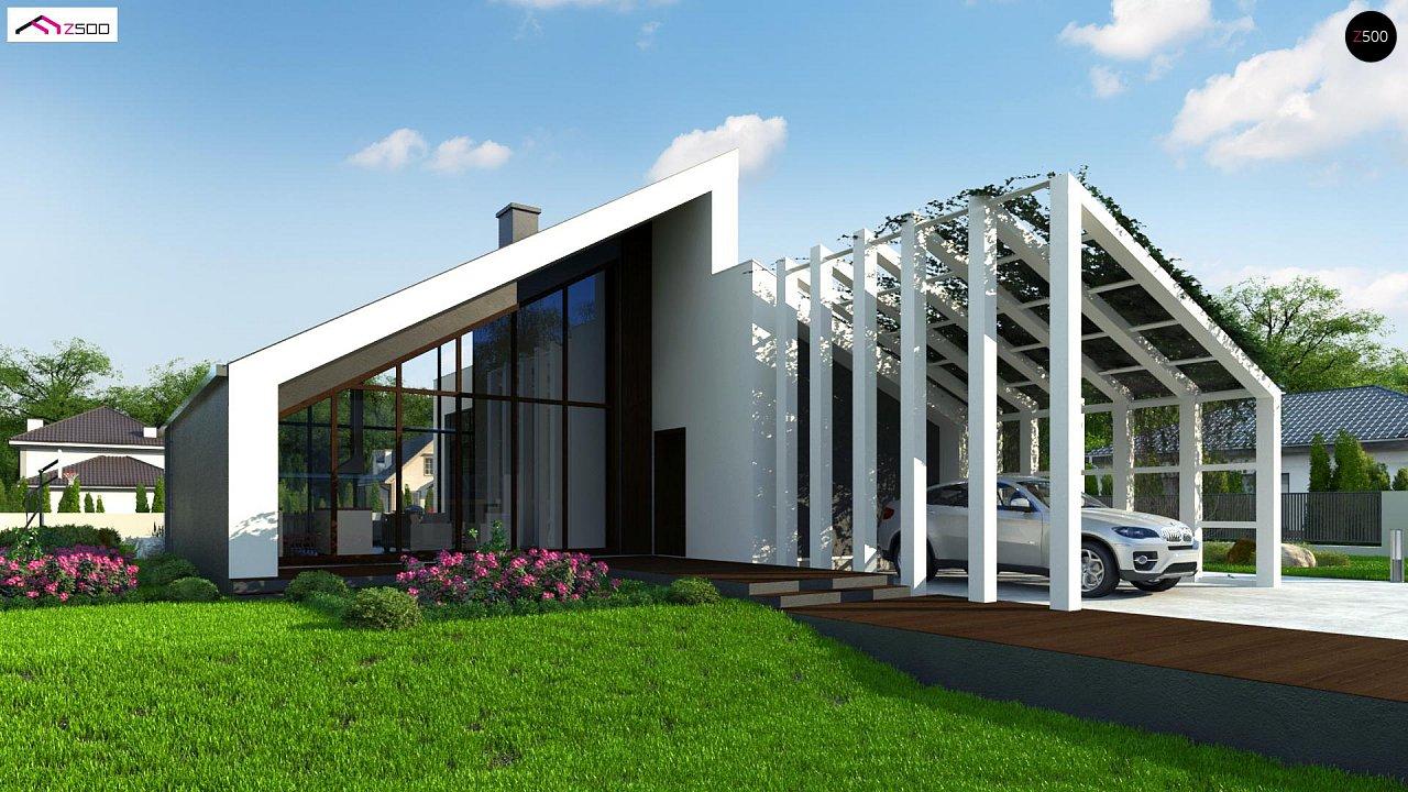 Современный дом с просторной гостиной и большим остеклением - фото 1