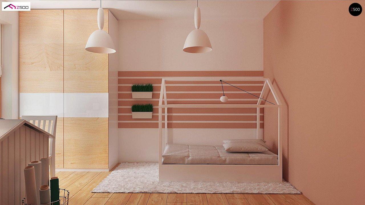 Аккуратный одноэтажный дом с деревянной отделкой на фасадах. 14