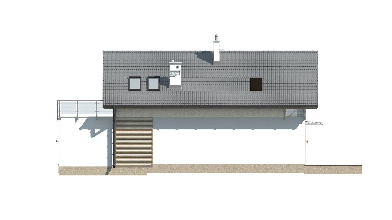 Дом простой формы с двускатной кровлей, с террасой над гаражом, также для узкого участка. - фото 6