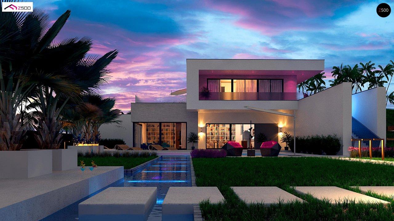 Стильный современный проект двухэтажного дома, подходит для строительства на участке со склоном. 2