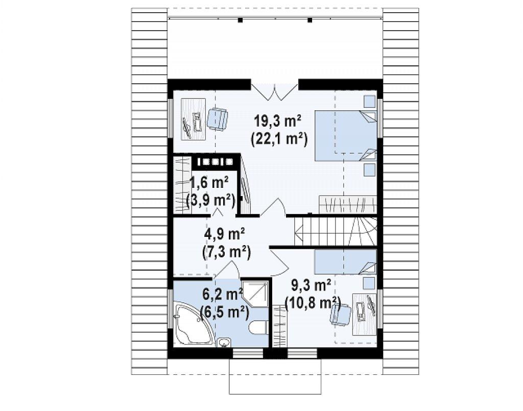 Компактный дом с мансардой, с крытой террасой и внешним камином. план помещений 2