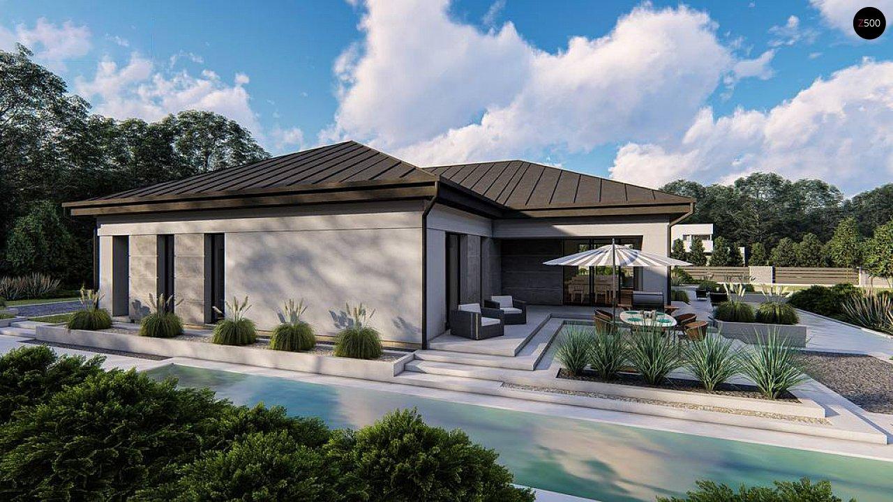 Одноэтажный современный проект дома с многоскатной крышей и гаражом на две машины. 1