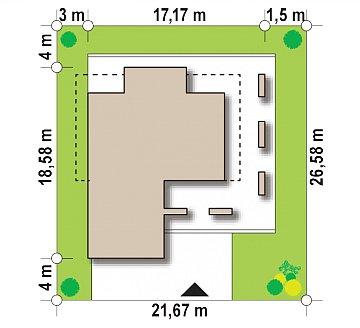 Современный двухэтажный дом с большим остеклением и гаражом на две машины план помещений 1