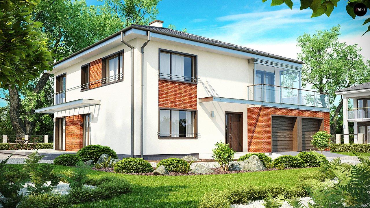 Комфортабельный двухэтажный дом простой формы со стеклянным эркером над гаражом. - фото 1